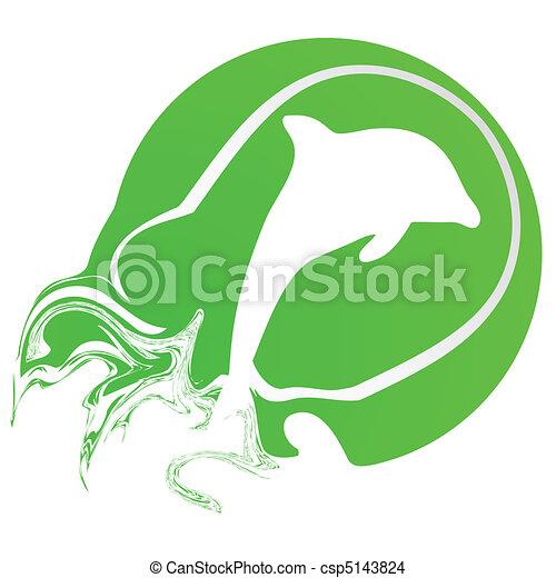 tennis ball with dolphin illustrati - csp5143824