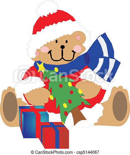 Teddy Bear adorned with gifts - csp5144067