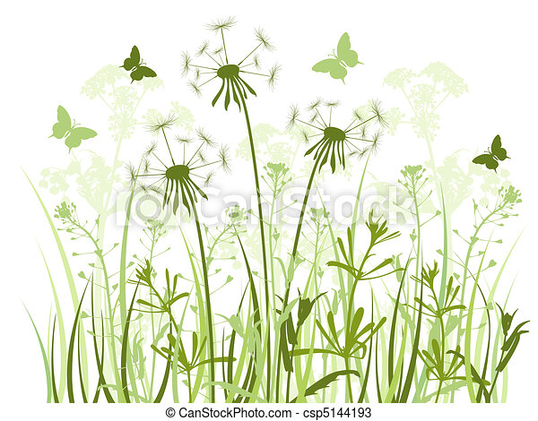 floral background with  grass and dandelions  - csp5144193