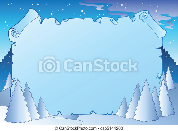 Winter landscape with blue scroll - csp5144208