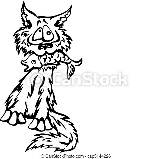 Clip Art Vector of Cat with fish - Crazy cartoonial cat holding a ...