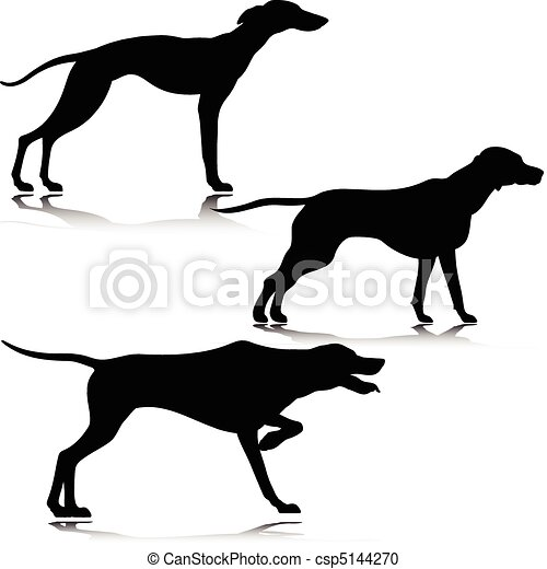Vector Clipart of three black dog vector silhouettes csp5144270 ...