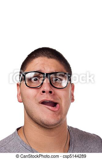 Man Wearing Nerd Glasses - csp5144289
