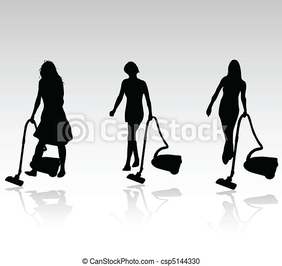 three cleaning women vector - csp5144330