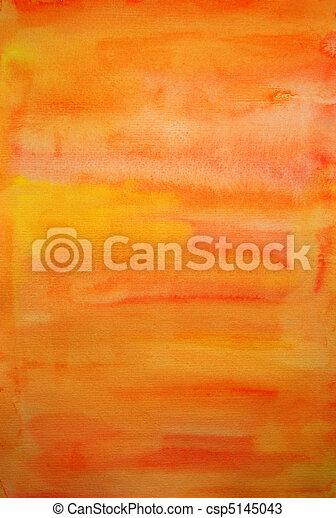 Orange watercolor  hand painted art background for scrapbooking design, created by me - csp5145043