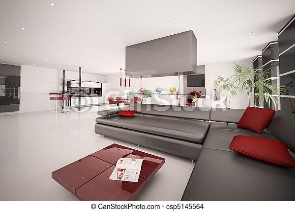 stock foto von inneneinrichtung modern wohnung 3d render csp5145564 suchen sie stock. Black Bedroom Furniture Sets. Home Design Ideas