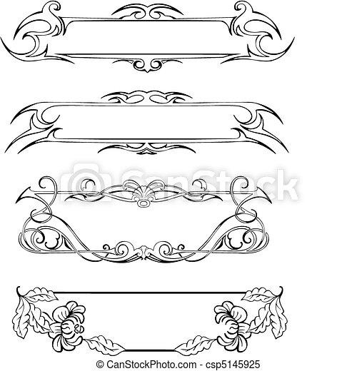Clipart Vector Of Slim Decoration Panels Four Slim