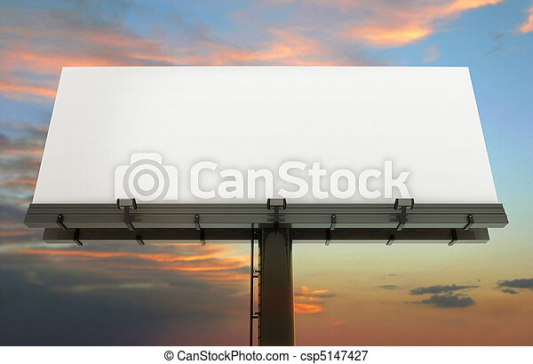 Billboard and sunset sky - csp5147427