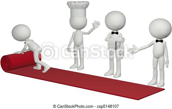 Restaurant chef waiter roll hospitality red carpet - csp5148107