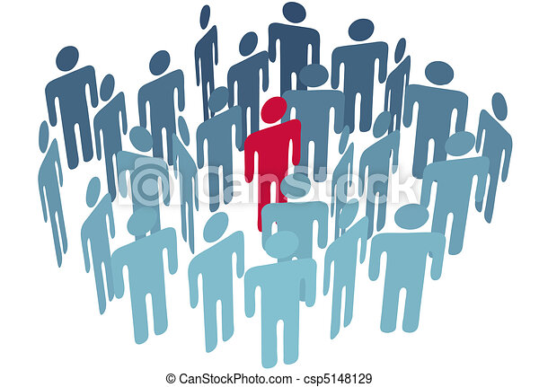 Key man center figure in group company people - csp5148129