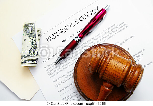 insurance policy with legal gavel and dollar bill - csp5148266