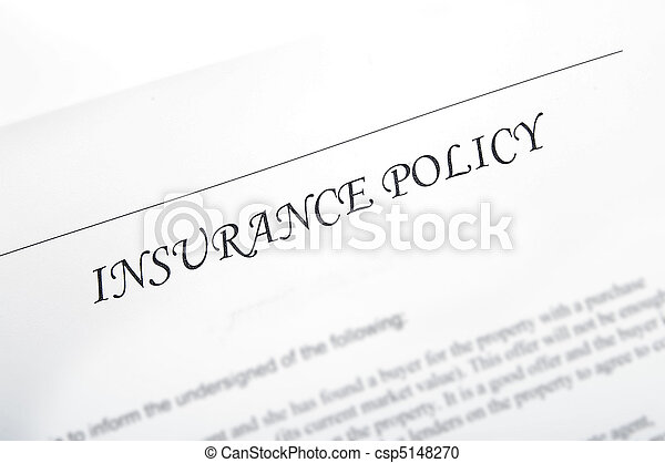 plain insurance policy, could be car, life, etc - csp5148270