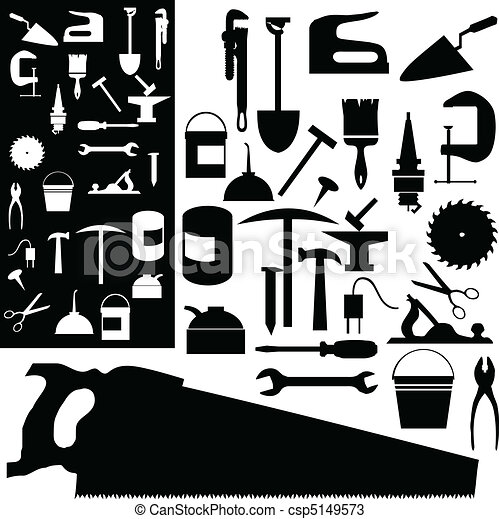 tools mix vector silhouettes - csp5149573