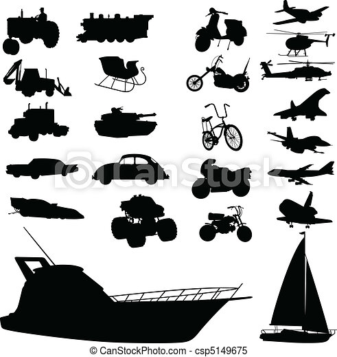 transport mix vector silhouettes - csp5149675