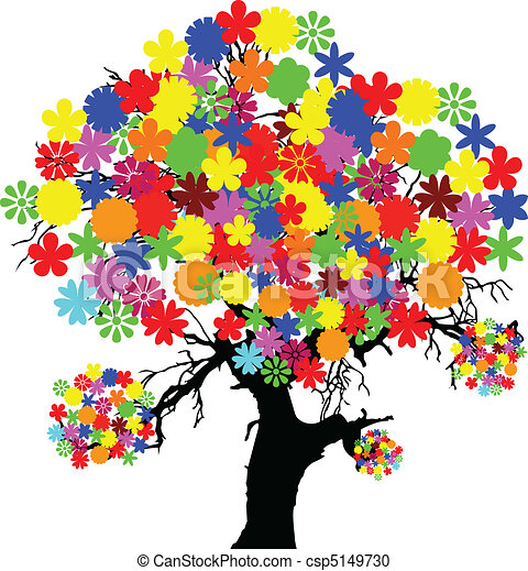 Bird house clipart free download clip art free clip art on - Vector Clipart Of Tree With Color Flower Illustration