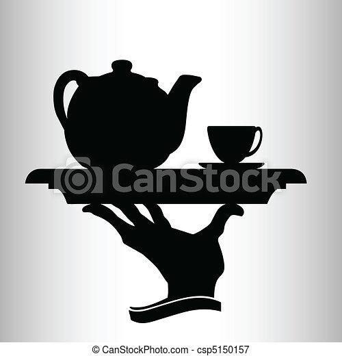 waiter brings tea vector silhouette - csp5150157