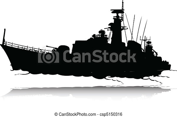 Clip Art Vector of war boat vector silhouettes csp5150316 - Search ...