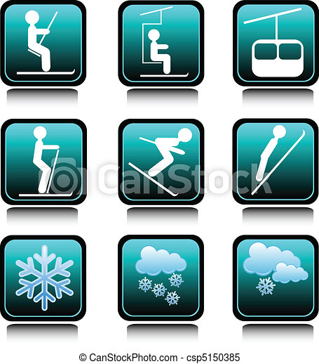 winter ski icon illustration