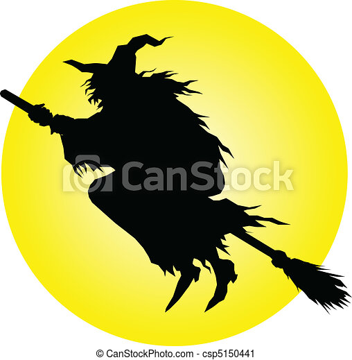 witch fly vector silhouettes - csp5150441