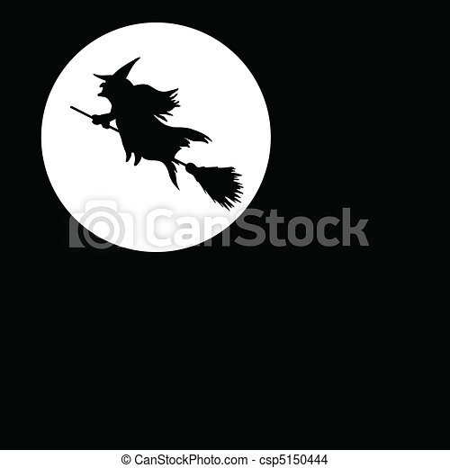 witch on moon illustration - csp5150444