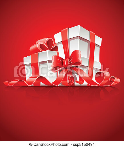 gift in box with red ribbon and bow - csp5150494