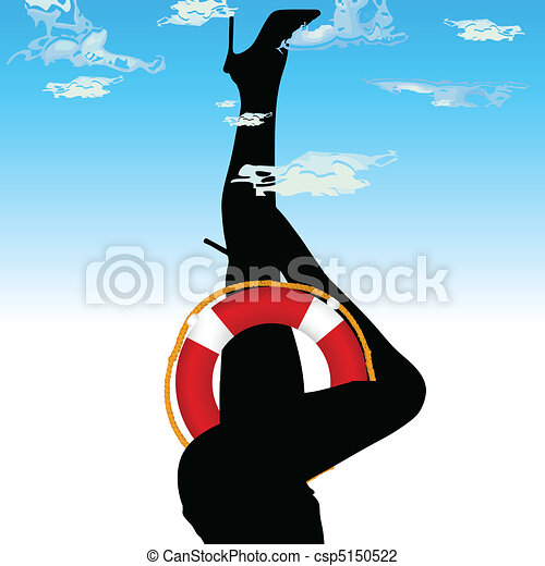 woman legs in the sky illustration - csp5150522