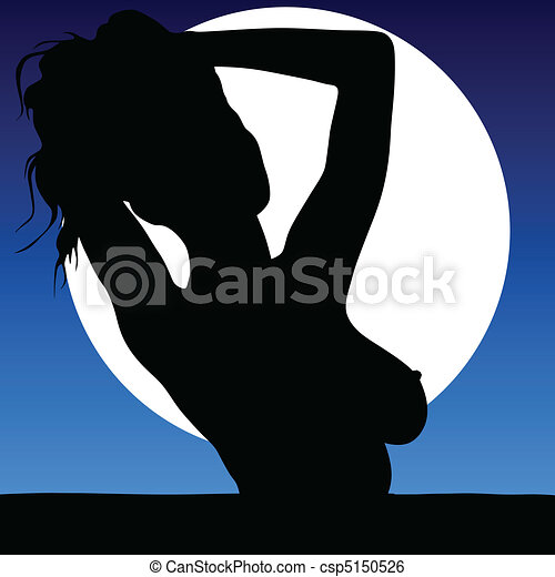 woman sexy body in the moonlight - csp5150526