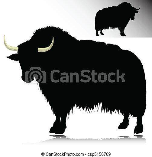 Vector - yak vector silhouettes - stock illustration, royalty free ...