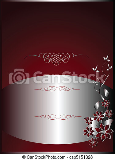 A silver floral menu template design with room for text on a rich red background - csp5151328