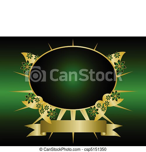 A gold floral design with room for text on a rich green and black background - csp5151350