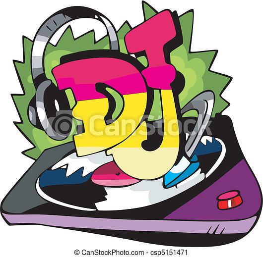 DJ design with record vinyl and ear-phones - csp5151471