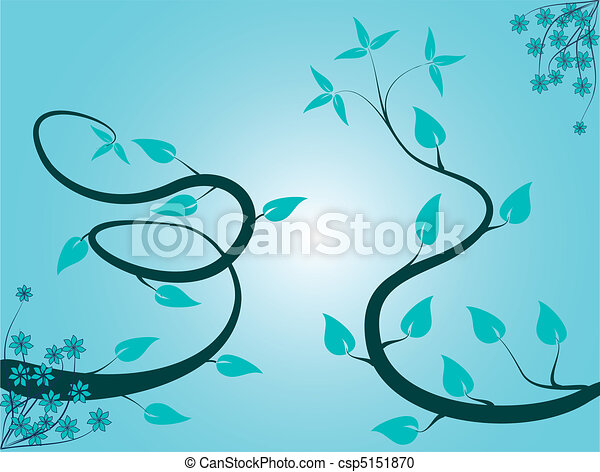 Abstract Cyan Floral Background - csp5151870