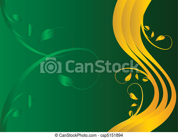 A green and gold formal floral background  - csp5151894