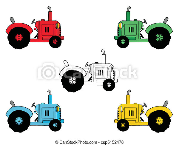 Digital Collage Of Farm Tractors - csp5152478