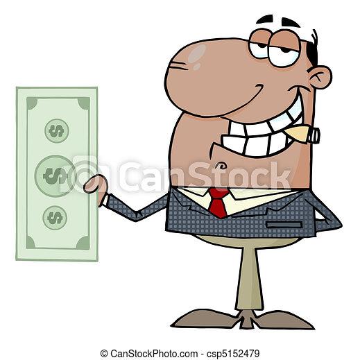 Businessman Shows Big Dollar - csp5152479