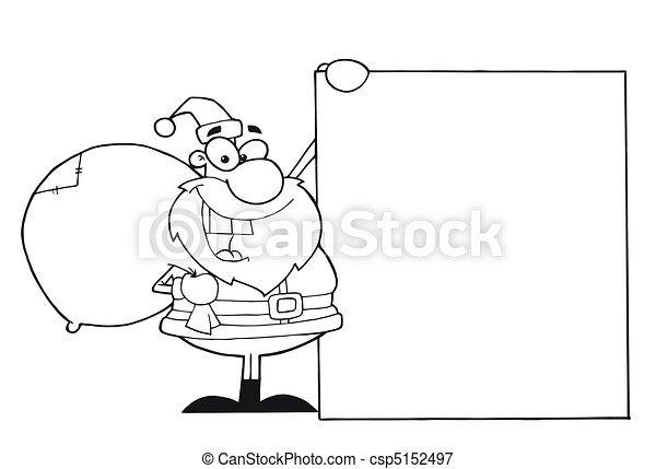 Outlined Christmas Santa Clause - csp5152497