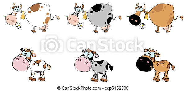 Digital Collage Of Six Cows - csp5152500
