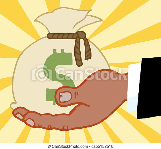 Business Hand Holding Money Bag - csp5152518