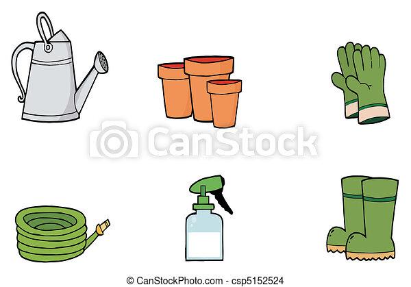 Vecteur eps de collage de jardinage outils ensemble for Dessin outils jardinage