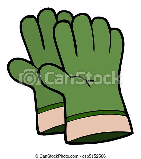 Pair Of Green Gardening Hand Gloves - csp5152566