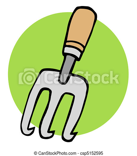 Clipart vector of gardeners hand cultivater gardening for Gardening tools drawing