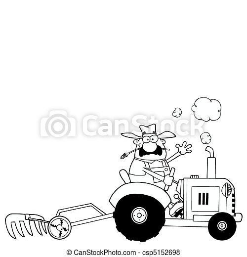 Vector Of Outlined Farmer Driving Tractor Coloring Page Outline Of A Csp5152698 Search