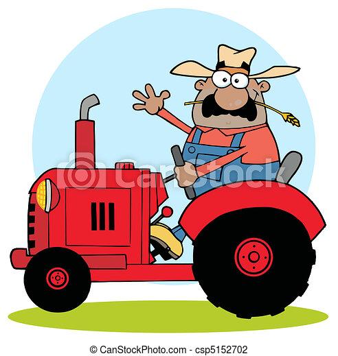 Hispanic Farmer Waving And Driving - csp5152702