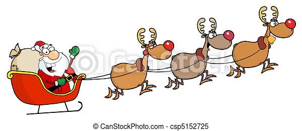 Clipart Vector of Christmas Santa Sleigh And Reindeer - Team Of ...