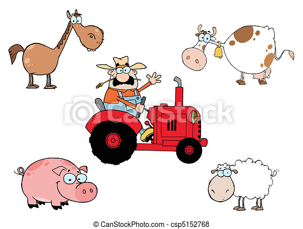 Farm Animals Cartoon Characters - csp5152768