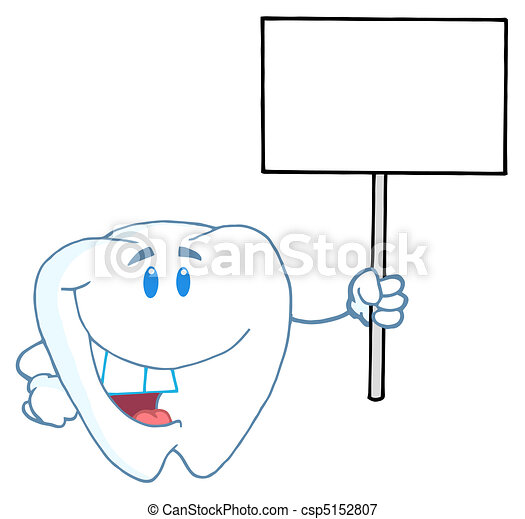 Tooth Holding A Blank White Sign - csp5152807