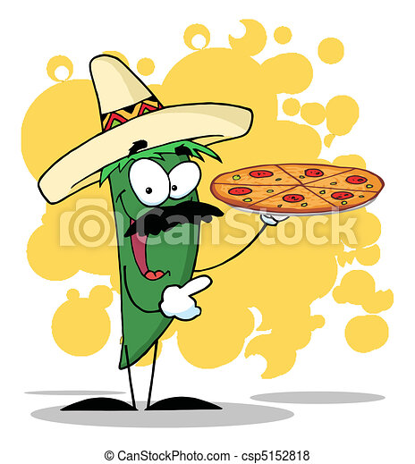 Green Pepper Holds Up A Hot Pizza  - csp5152818