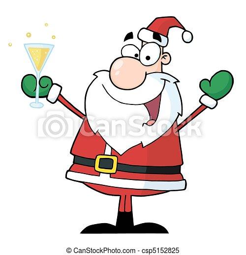 Santa Claus Drinking Champagne  - csp5152825