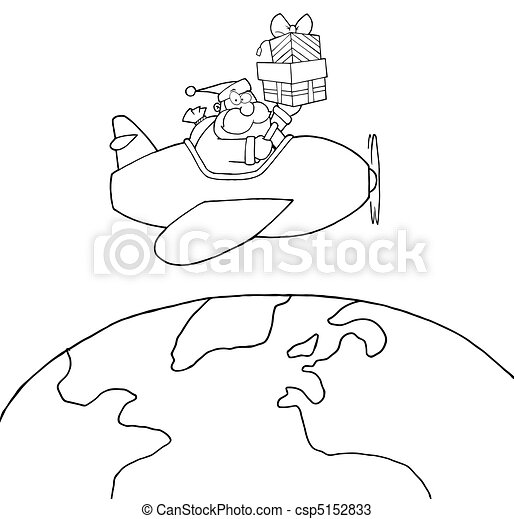 Outlined Santa Claus  - csp5152833