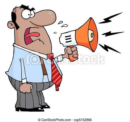 Boss Man Screaming Into Megaphone - csp5152866